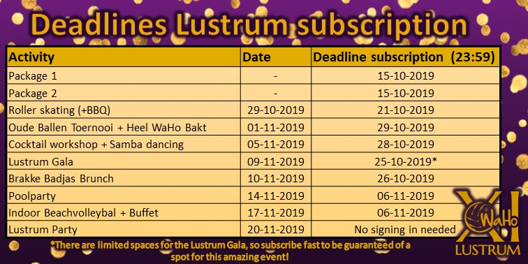 Deadlines subscribtion Lustrum